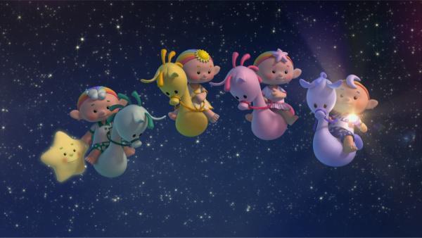 Kleiner Stern und die Wolkenkinder schweben auf ihren Wolkenponys durch den nächtlichen Himmel. | Rechte: KiKA/Hoho Entertainment