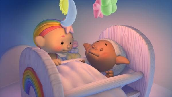 Baba Pink bringt Bobo ins Bett.   Rechte: KiKA/Hoho Entertainment