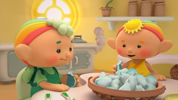 Baba Grün und Baba Gelb lassen sich Regenbirnen schmecken. | Rechte: KiKA/Hoho Entertainment