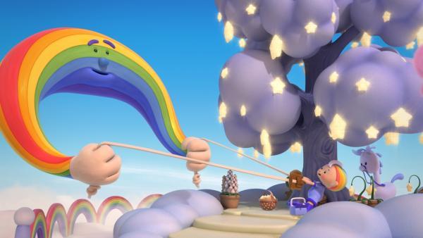 Herr Regenbogen übt mit Baba Blau das Sterneschleudern. | Rechte: KiKA/Hoho Entertainment