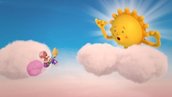 Herr Sonne spielt mit Wolke Fluffi, den Kleinen Stern und Bobo.   Rechte: KiKA/Hoho Entertainment