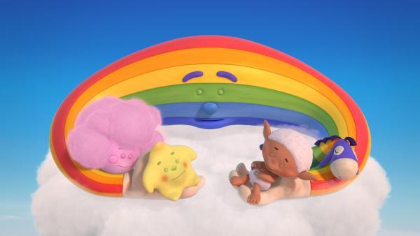 Herr Regenbogen, Fluffi, Kleiner Stern, Bobo und Flippo machen ein Mittagsschläfchen.   Rechte: KiKA/Hoho Entertainment