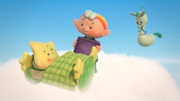 Baba Grün bringt Kleiner Stern ins Bett. | Rechte: KiKA/Hoho Entertainment