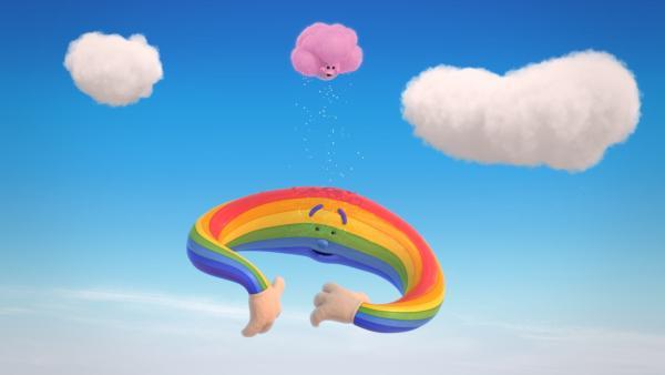 Fluffi regnet aus Versehen auf Herrn Regenbogen. | Rechte: KiKA/Hoho Entertainment