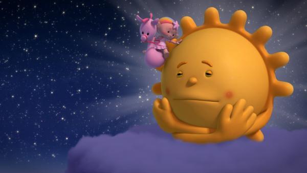 Herr Sonne friert. Baba Pink tröstet ihn. | Rechte: KiKA/Hoho Entertainment