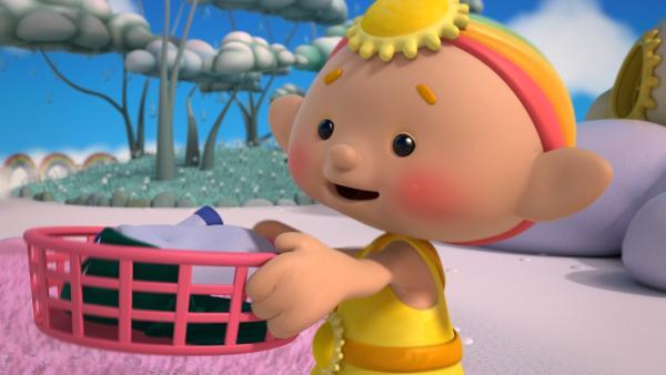 Baba Gelb freut sich: Es ist Waschtag! | Rechte: KiKA/Hoho Entertainment