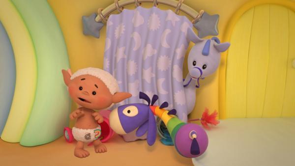 Bobo, Flippo und ein Wolkenpony sind erschrocken.   Rechte: KiKA/Hoho Entertainment