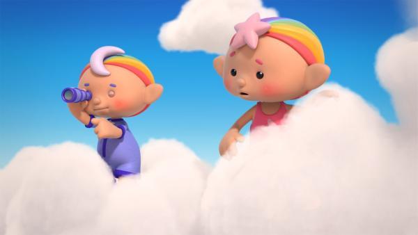 Baba Blau und Baba Pink halten Ausschau nach Mondsteinen. | Rechte: KiKA/Hoho Entertainment
