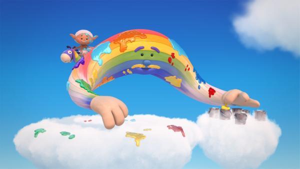 Herr Regenbogens Farben sind vermischt. Bobo verschmiert sie nur noch stärker. | Rechte: KiKA/Hoho Entertainment