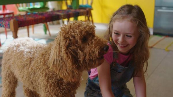 Evi (Thaliya Lowles) und Wuffel freuen sich auf den Besuch von Herrn Willhellm und seinen Hunden. | Rechte: ZDF und Darrell MacQueen