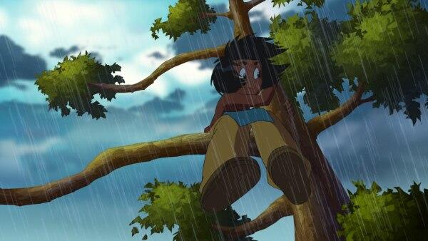 Kleiner Dachs sitzt bei Sturm auf einem Baum | Rechte: STORIMAGES/ELLIPSANIME/ARD&KiKA/2 Minutes