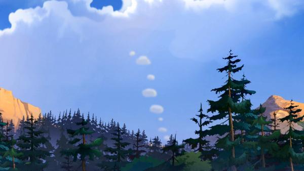 verschieden große Rauchwolken sind am Himmel zu sehen. | Rechte: Derib+Job/Le Lombard/Ellipsanime Productions/Belvision/ARD & WDR/Dargaud Media/2 Minutes