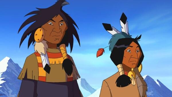 Nicht jeder Indianer durfte eine Feder tragen. Nur derjenige, der besonders mutig war, schmückte sich mit Federn und wurde vom Stamm besonders geachtet. Neben der Federhaube trugen die Indianer auch anderen tierischen Schmuck. <br/><br/>Der Schmuck aus den Krallen eines Grizzlybären oder Brustplatten aus Vogelknochen schützte und bestärkte den Indianer. Gleichzeitig war dies ein Symbol für Mut und Tapferkeit. | Rechte: STORIMAGES/ELLIPSANIME/ARD&KiKA/2 Minutes