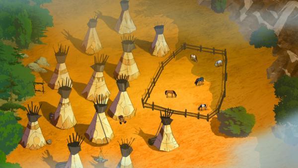 Yakaris Indianerdorf mit Tipis von oben | Rechte: Ellipsanime Productions / Belvision / ARD & WDR / Les Cartooneurs Associés / 2 Minutes