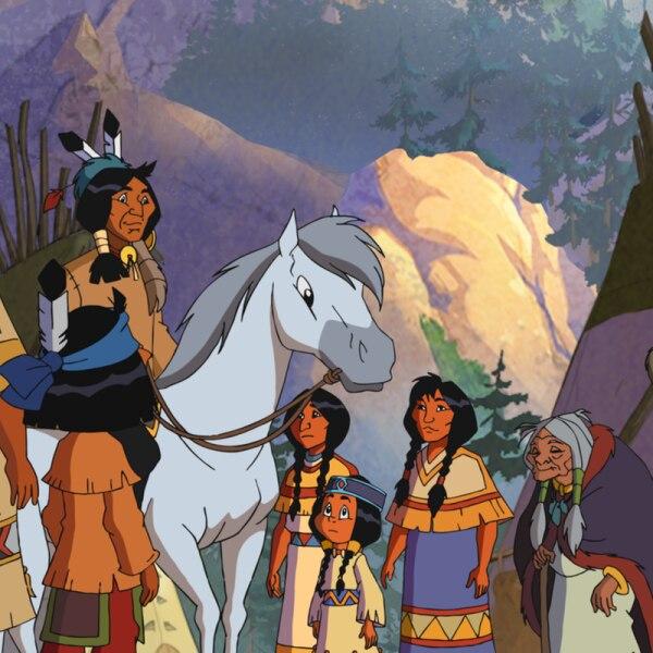 Ein Indianer reitet auf seinem pferd in das Indianerdorf. | Rechte: Ellipsanime Productions / Belvision / ARD & WDR / Les Cartooneurs Associés / 2 Minutes