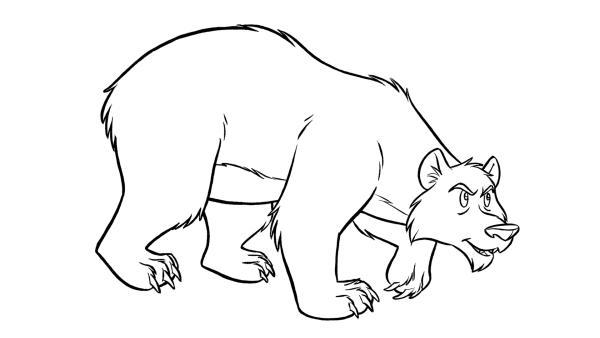 Ausmalbild Grizzlybär | Rechte: Storimages – 2 Minutes – Belvision  (© Derib + Job – Le Lombard )