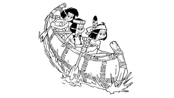 Yakari, Regenbogen und Kleiner Dachs sitzen hintereinander in einem schmalen Boot. Yakari und Kleiner Dachs paddeln | Rechte: Derib+Job/Le Lombard/Ellipsanime Productions/Belvision/ARD & WDR/Dargaud Media/2 Minutes