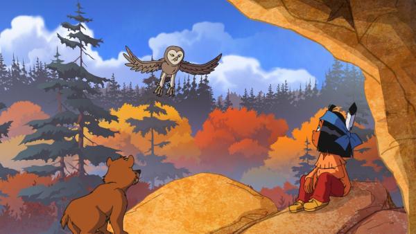 Yakari hilft dem kleinen Bären Honigtau, auf eigenen Beinen zu stehen und allein in der Wildnis zurechtzukommen. | Rechte: WDR/Storimages
