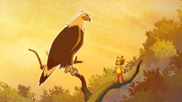 Großer Adler warnt Yakari vor Gefahren im Sumpfgebiet. | Rechte: WDR/Storimages