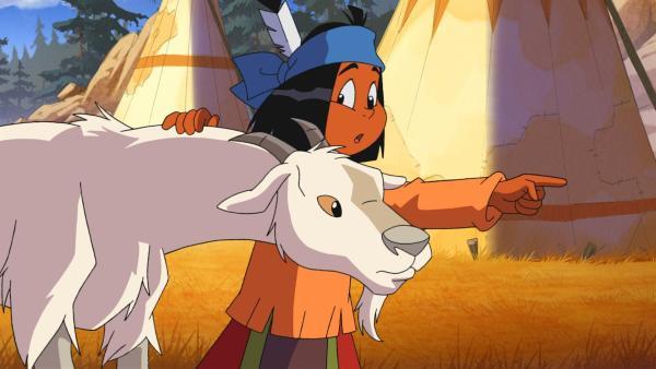Yakari will die junge Ziege davon zu überzeugen, dass sie in ihrer Herde besseren Schutz findet als allein unterwegs zu sein.   Rechte: WDR/Storimages