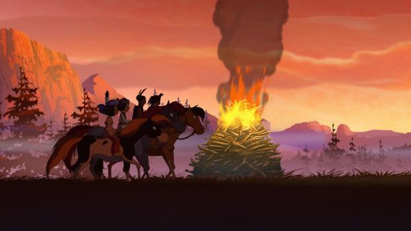 Yakari und seine Freunde dürfen zum ersten Mal beim Rennen der Sieben Feuer teilnehmen.   Rechte: WDR/Storimages