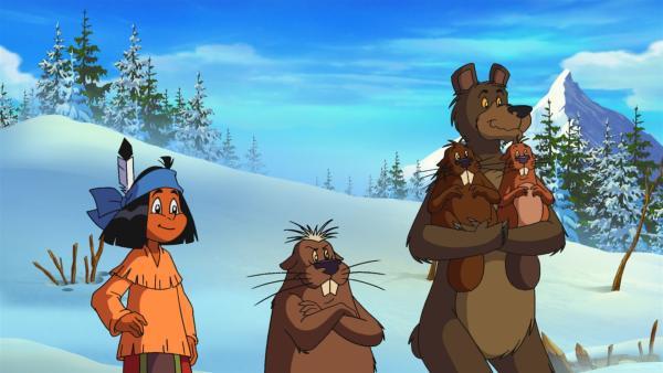 Yakari versucht herauszufinden, woher der Lärm kommt, der seinen Freund, den Bären nicht schläfen lässt. | Rechte: WDR/Storimages