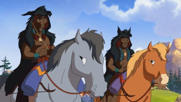 Zwei Indianer eines anderen Stammes, die ihre Pferde schlecht behandeln, wollen Pumas jagen. Yakari ist empört und will den Pferden und den Pumas helfen.   Rechte: WDR/Storimages