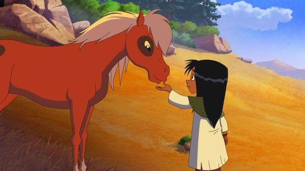 Das Indianermädchen Kleines Blatt ist sehr schüchtern. Nur in der Gegenwart der Pferde taut Kleines Blatt auf und spricht mit ihnen. | Rechte: WDR/Storimages