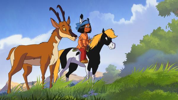 Yakari und Kleiner Donner lernen das schnellste Tier der Prärie kennen: eine Gabelhorn-Antilope. | Rechte: WDR/Storimages