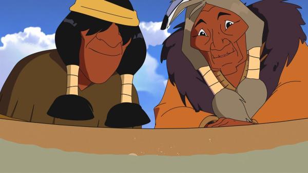 Müder Krieger (l.) und Stiller Fels (r.) freuen sich auf das leckere Trockenfleisch.   Rechte: WDR/Ellipsanime Productions/Belvision/Les Cartooneurs Associés/2 Minute