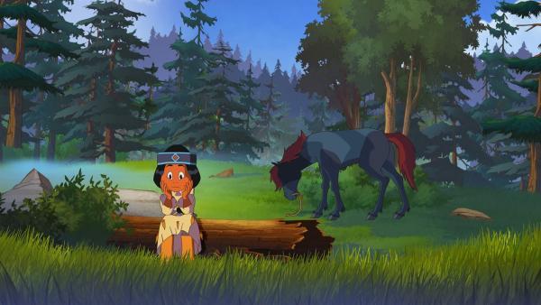 Regenbogen wartet auf Yakari, im Hintergrund ihr Pferd Großer Grauer | Rechte: WDR/Ellipsanime Productions/Belvision/Les Cartooneurs Associés/2 Minute