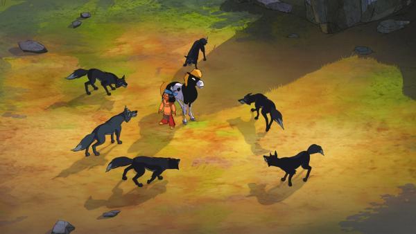 Das Wolfsrudel hat Yakari und sein Pferd Kleiner Donner eingekreist.   Rechte: WDR/Ellipsanime Productions/Belvision/Les Cartooneurs Associés/2 Minute
