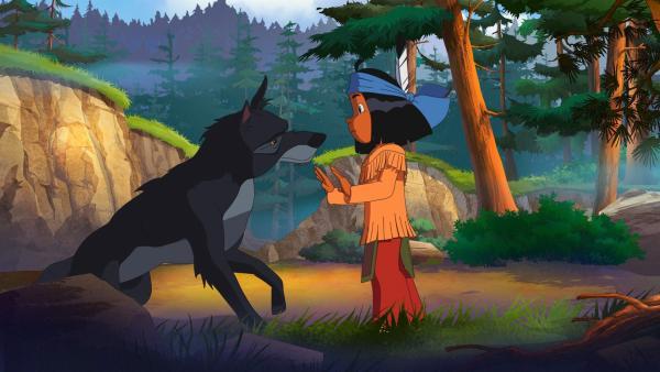 Yakari verarztet den Anführer des Wolfsrudels. | Rechte: WDR/Ellipsanime Productions/Belvision/Les Cartooneurs Associés/2 Minute