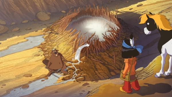 Biber Tausendmäuler hat noch etwas Wasser retten können. Yakari und sein Pferd Kleiner Donner sehen sich die Reste an. | Rechte: WDR/Ellipsanime Productions/Belvision/Les Cartooneurs Associés/2 Minute