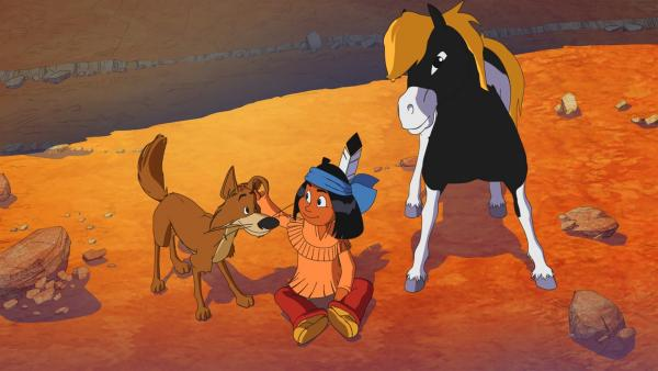Hund Knickohr, Yakari und sein Pony Kleiner Donner | Rechte: WDR/Ellipsanime Productions/Belvision/Les Cartooneurs Associés/2 Minute