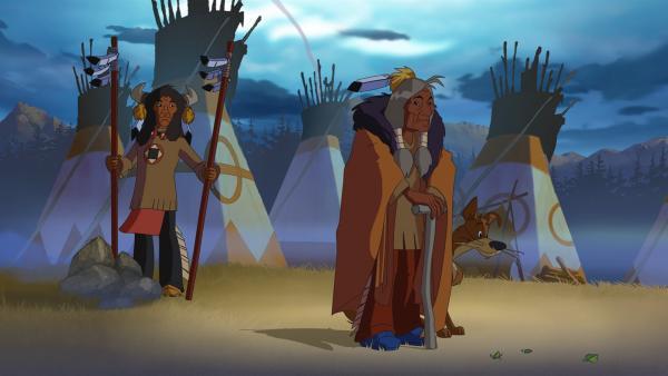 Die beiden weisen Indianer Der-der-alles-weiß (l.) und Stiller Fels (r.)    Rechte: WDR/Ellipsanime Productions/Belvision/Les Cartooneurs Associés/2 Minute