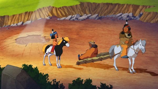 Die drei Gefährten auf dem Weg zu den heißen Quellen: (v.l.) Yakari, Stiller Fels und Fettauge. | Rechte: WDR/Ellipsanime Productions/Belvision/Les Cartooneurs Associés/2 Minute