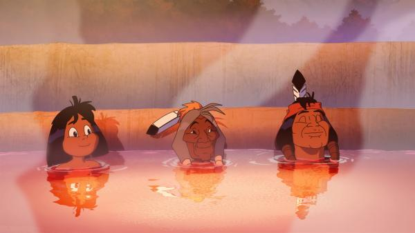 (v.l.) Yakari, Stiller Fels und Fettauge genießen das heiße Wasser.   Rechte: WDR/Ellipsanime Productions/Belvision/Les Cartooneurs Associés/2 Minute