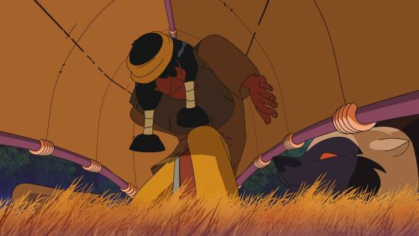 Indianer Müder Krieger erschreckt sich vor dem Vielfraß. | Rechte: WDR/Ellipsanime Productions/Belvision/Les Cartooneurs Associés/2 Minute