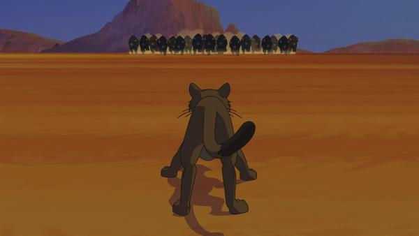 Der Puma versucht die Bisonherde aufzuhalten. | Rechte: WDR/Ellipsanime Productions/Belvision/Les Cartooneurs Associés/2 Minute