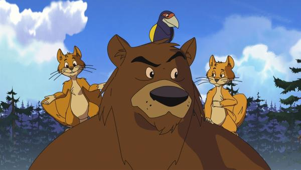Der Bär mit seinen Freunden, den Flughörnchen und dem Vogel Großschnabel | Rechte: WDR/Ellipsanime Productions/Belvision/Les Cartooneurs Associés/2 Minute