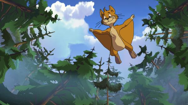 Das Flughörnchen will mit Yakari spielen. | Rechte: WDR/Ellipsanime Productions/Belvision/Les Cartooneurs Associés/2 Minute