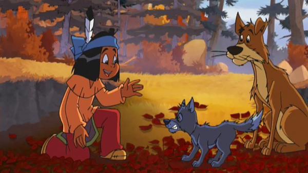 Yakaris Hund Knickohr freundet sich mit einem Wolfswelpen an. | Rechte: Storimage