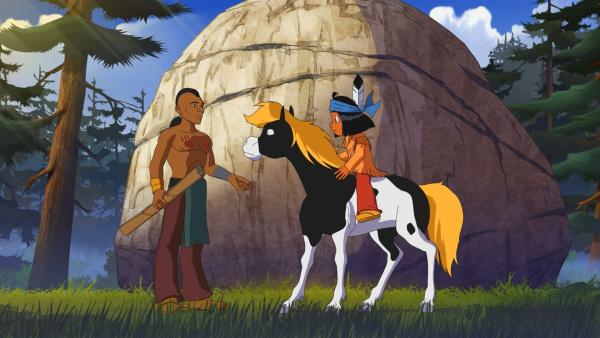 Krieger Fliegender Fuß (l.) ist der schnelle Bote eines anderen Stammes und trifft auf Yakari (r.). | Rechte: WDR/Storimage