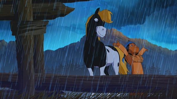 Yakari und sein Pony Kleiner Donner genießen den Regen. | Rechte: WDR/Storimage
