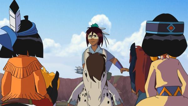 Freies Pferd hilft Yakari und Regenbogen, nach dem Pferdedieb Ausschau zu halten. | Rechte: WDR/Storimage