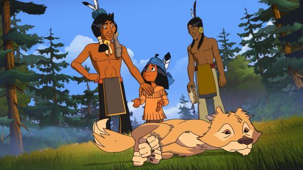 Yakari fühlt sich nicht wohl, dass sein Vater Kühner Blick und Stolze Wolke einen Kojoten gefangen haben. | Rechte: WDR/Storimage