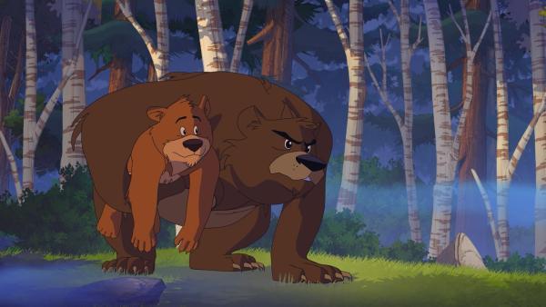 Der Bär mit seinem Jungen mag es nicht, dass Yakari in sein Revier eintritt. | Rechte: WDR/Storimage