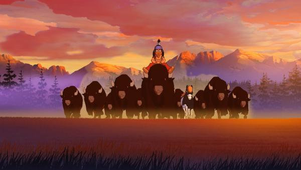 Yakari und eine Herde Bisons. | Rechte: WDR/Storimage