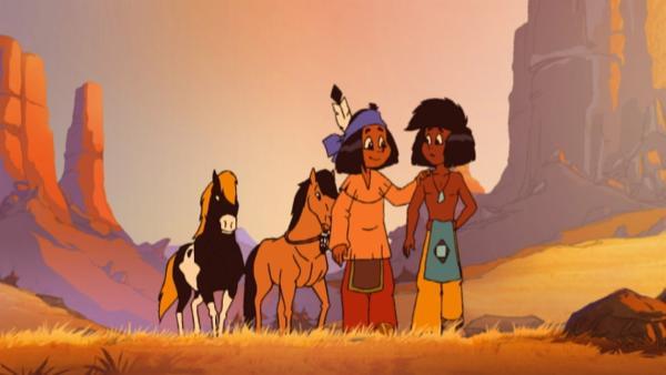 Yakari und Kleiner Dachs mit ihren Ponys. | Rechte: KiKA/Storimages
